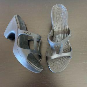 Crocs • Black Heeled Sandals Size 8
